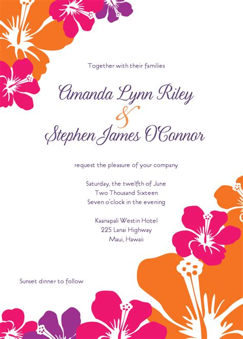 Luau wedding invitation template affordable wedding invites
