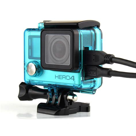 Gopro 4 New 2015 new gopro 4 skeleton housing side open protective cover with hollow backdoor