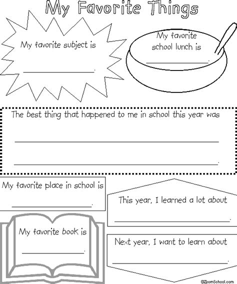 School Memory Book Favorite Things Enchantedlearning Com Free Printable Memory Book Templates