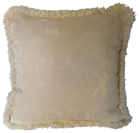 Pillows With Fringe by Ivory Jacquard Decorative Throw Pillows With Fringe