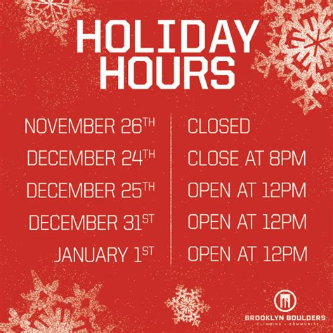 Brooklyn Boulders Holiday Hours Brooklyn Boulders Trading Hours Template Free