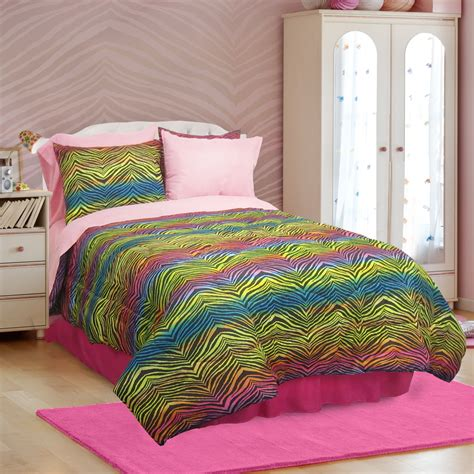 rainbow zebra comforter set veratex