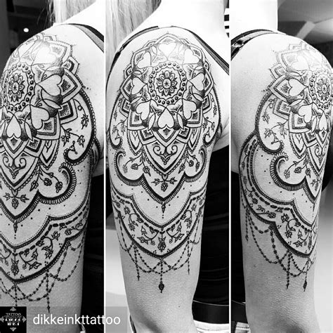 mandala tattoo upper arm mandala dotwork shoulder upper arm tattoo women black and