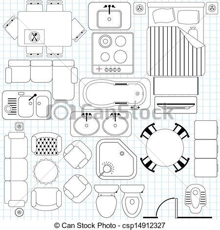 Furniture Clipart For Floor Plans simple furniture floor plan royalty free eps vector