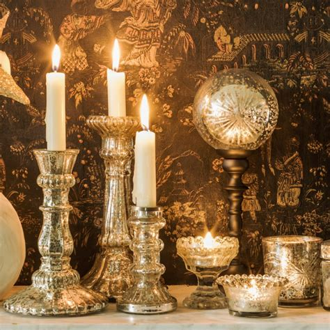 mercury antiqued glass candle holders candles holders