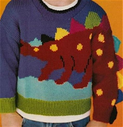dinosaur sweater knitting pattern ravelry family circle easy knitting summer 2005