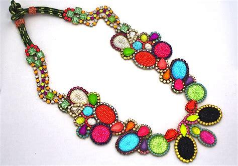 bright statement wedding necklace rainbow wedding colors