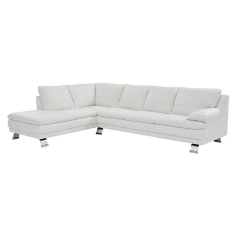 white leather sofa with chaise white leather sofa w left chaise el dorado furniture