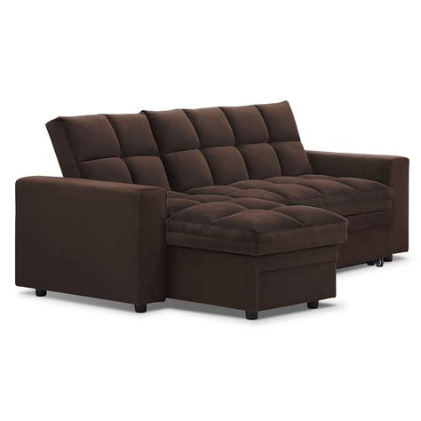 Sleeper Sofa With Storage Chaise Metro Chaise Sofa Bed With Storage Brown Value City Furniture
