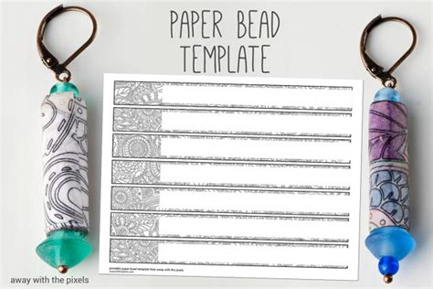 printable paper jewelry black white digital paper bead template to color diy paper