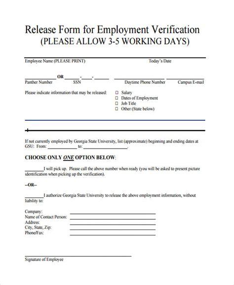 Background Check Employment Verification 91 Employment Verification Release Form Sle