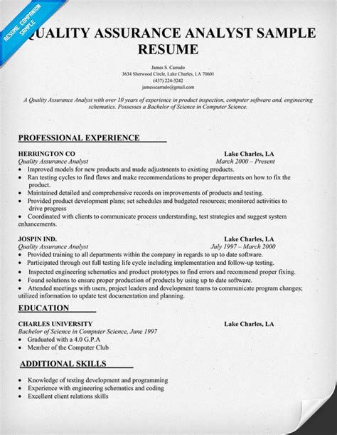 Resume Sles For Quality Analyst Resume Of Qa Engineer