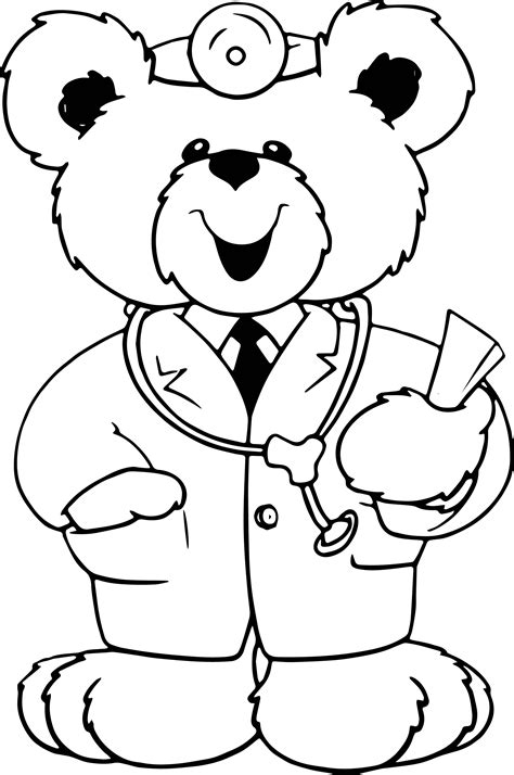 Cute Doctor Coloring Page | cute doctor bear coloring page wecoloringpage