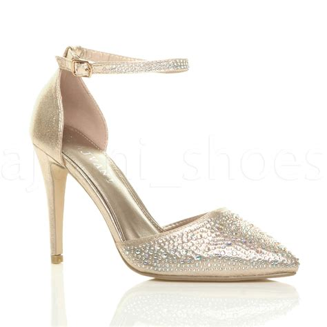 Ankle Pointed Heel Sandals womens high heel pointed ankle diamante court
