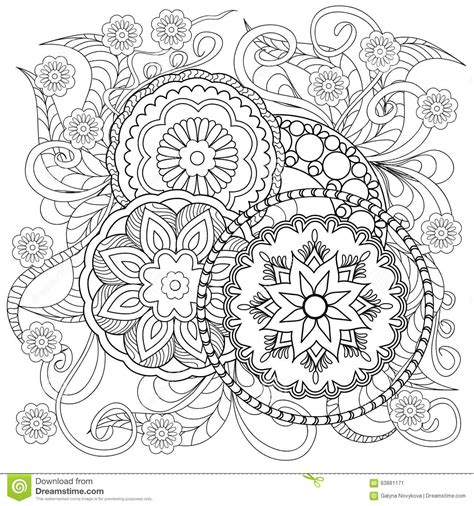 coloring page vector doodle flowers and mandalas stock vector image 63881171