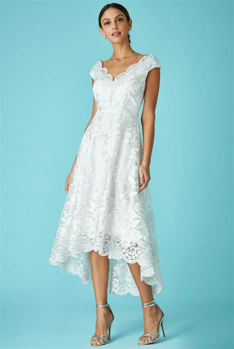 wholesale embroidered lace midi wedding dress