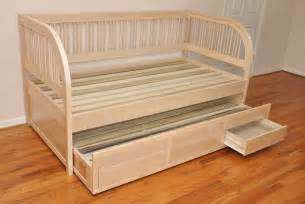 custom full size daybed frame with trundle and storage