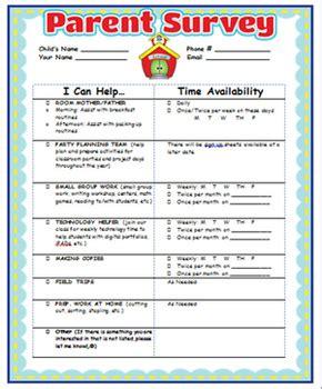 Parent Involvement Survey And Certificate By Oodles For Little Noodles Parent Survey Template
