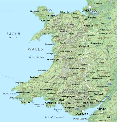 map of wales map of wales with relief and cities wales united kingdom europe mapsland maps of the world