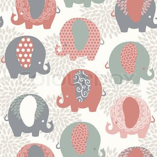 cute elephant pattern cute colorful elephants seamless vector pattern vector