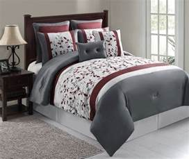 12pc olivia silver maroon gray luxury bed in a bag