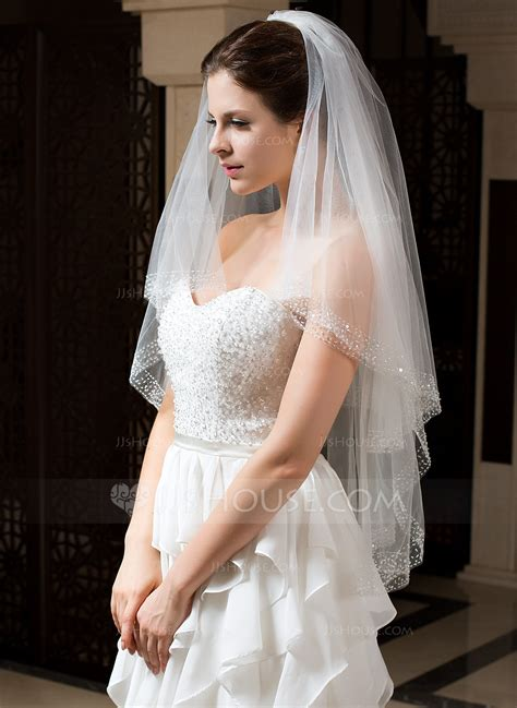 two tier fingertip bridal veils with beaded edge 006035767 jjshouse