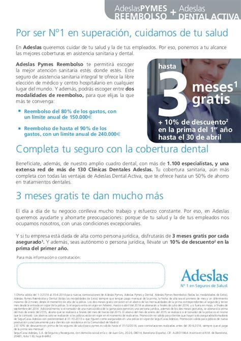 cuadro medico adeslas 2014 adeslas pymes reembolso dental 2014