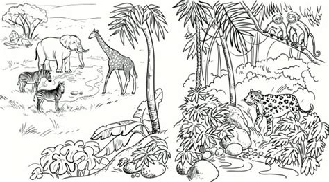 coloring pages of jungle scenes free safari scene coloring pages