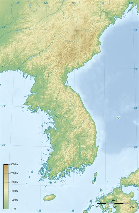 peninsula map file korean peninsula topographic map png