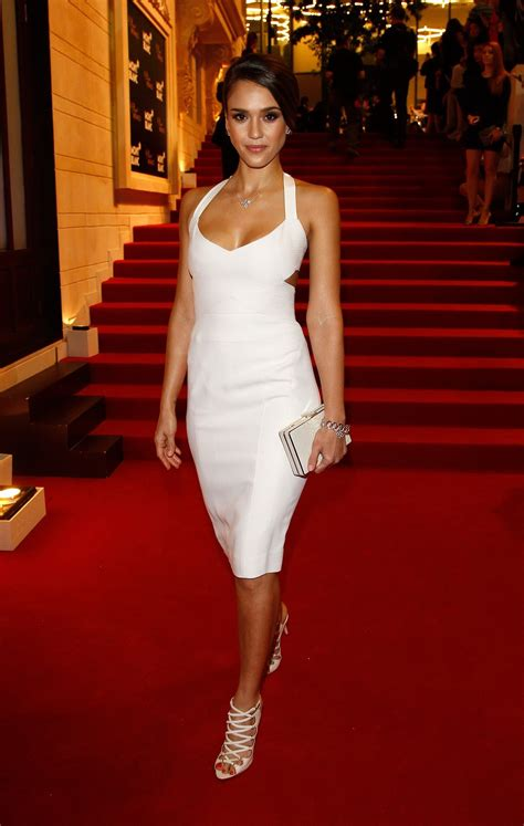 Alba Wears White by Alba Looks Wearing A Tight White Dress At