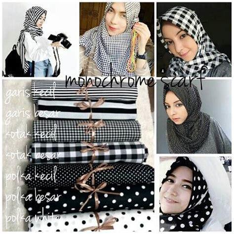 tutorial berhijab monocrom kumpulan motif jilbab terbaru segiempat dan pashmina