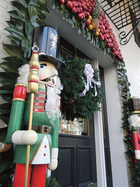 life size nutcrackers  front door merry christmas