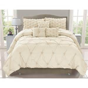 Elegant amp pinched embelished ivory luxurious 6 pc comforter set queen