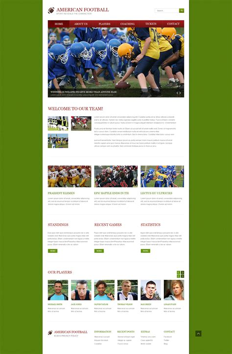 responsive website templates for quiz football responsive website template 46159