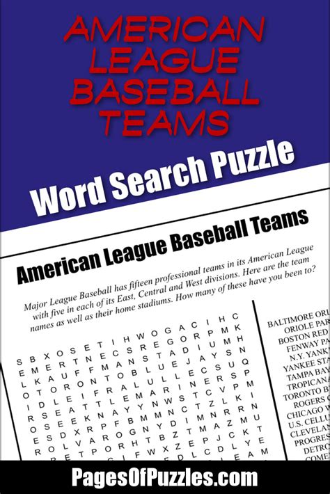 White Pages Chicago Lookup American League Baseball Teams Word Search Pages Of Puzzles