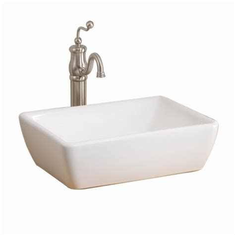 white rectangular vessel sink shop cheviot riviera 6 in d white vitreous china