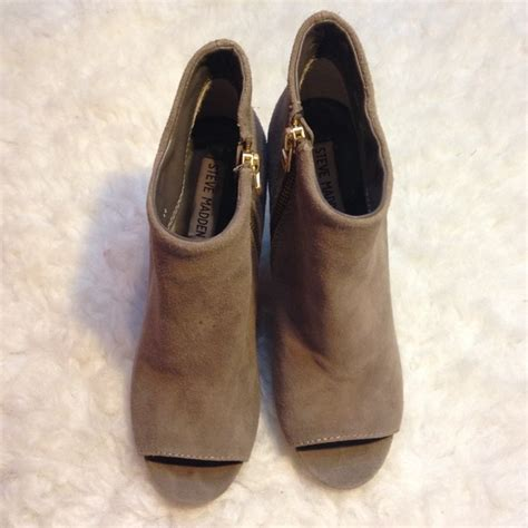 70 steve madden shoes sale steve madden grey suede peep toe booties from alexandra s
