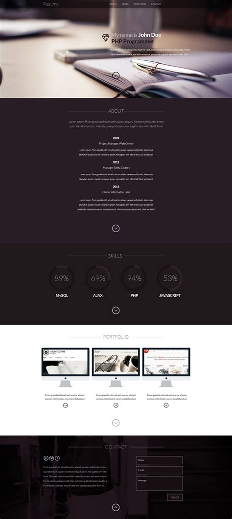 Resume Website Template Free by 15 Best Free Resume Cv Website Templates And Themes