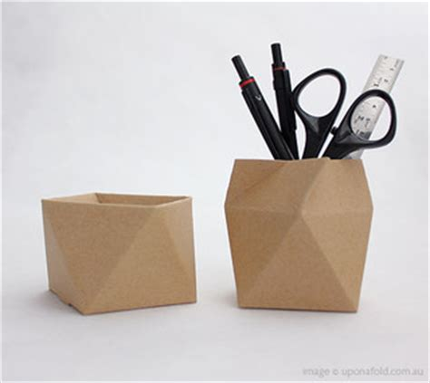 Origami Pencil Cup - thread lid box antiprism modern desk accessories by