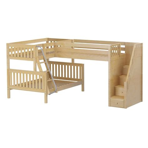 Triology Corner Loft Twin Over Full Bunk Bed With Staircase Corner Loft Bunk Beds