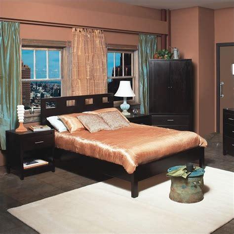 modus furniture nevis riva modern 3 low profile platform bedroom set in espresso rvp23