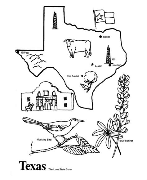 texas state outline coloring page coloring pages pinterest