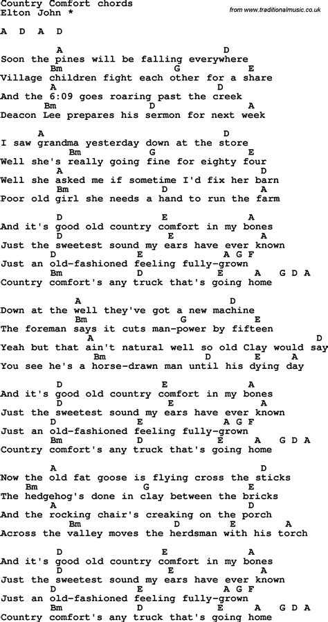country music songs on guitar song lyrics with guitar chords for country comfort
