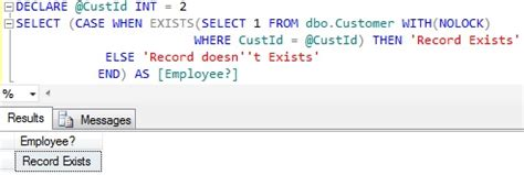 sql check if temp table exists exists clause in sql sqlhints com
