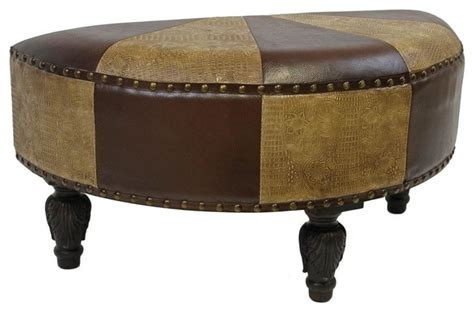 half moon storage ottoman faux leather half moon ottoman mixed patch work