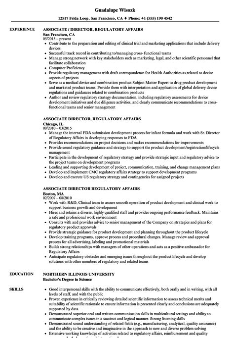 regulatory resume sle cv templates associate director regulatory affairs resume sles velvet