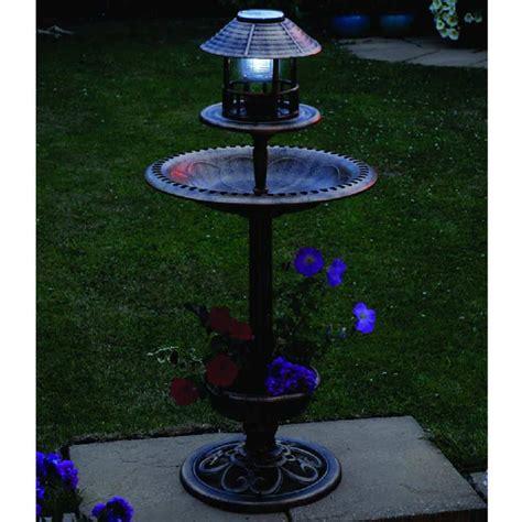 bird bath feeder with solar light and planter greenhurst tulip resin bird bath feeder with solar light