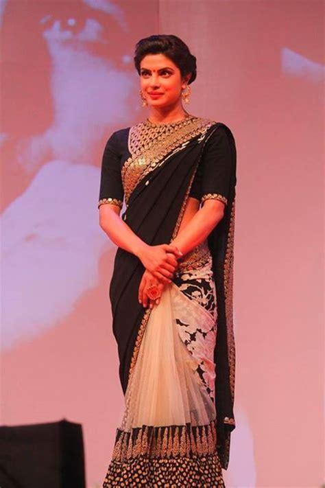 priyanka chopra in ethnic wear royalty priyankachopra in black white w gold saree