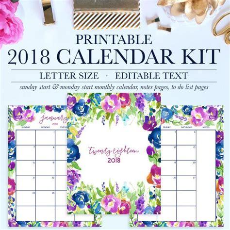 printable calendar i can add events 2018 calendar kit jessica marie design