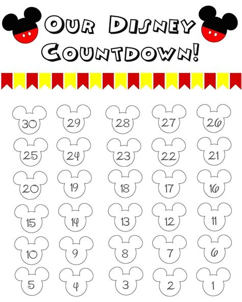 printable countdown calendar template 17 best ideas about disneyland countdown on